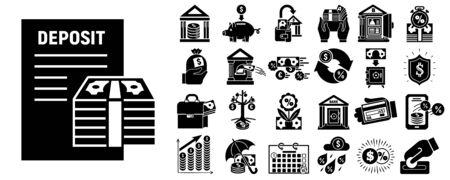 Deposit icons set, simple style Ilustração