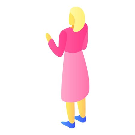 Blonde girl pink clothes icon. Isometric of blonde girl pink clothes vector icon for web design isolated on white background