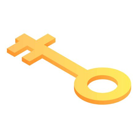Gold key icon. Isometric of gold key vector icon for web design isolated on white background