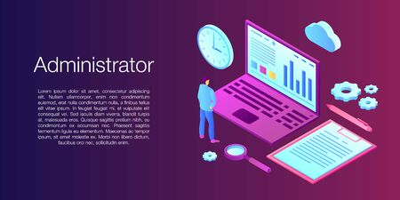 Network administrator concept banner. Isometric illustration of network administrator vector concept banner for web design