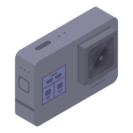 Black action camera icon, isometric style