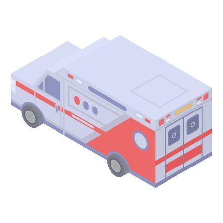 American ambulance car icon. Isometric of american ambulance car vector icon for web design isolated on white background Illustration