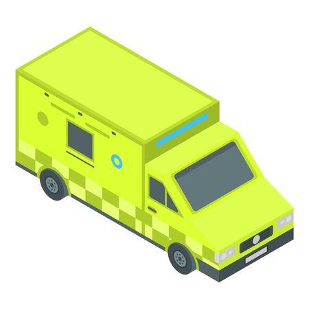 Green city ambulance icon, isometric style Ilustração