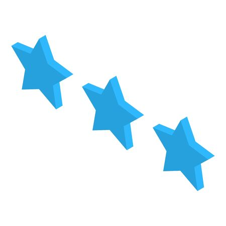 Blue three stars icon, isometric style Ilustrace