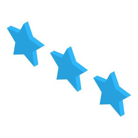 Blue three stars icon, isometric style Illustration