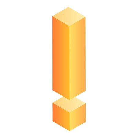 Exclamation sign icon, isometric style