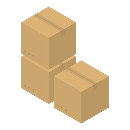 Carton box stack icon. Isometric of carton box stack vector icon for web design isolated on white background