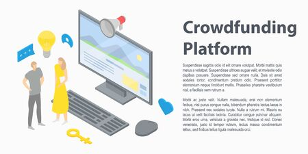 Crowdfunding platform concept banner, isometric style