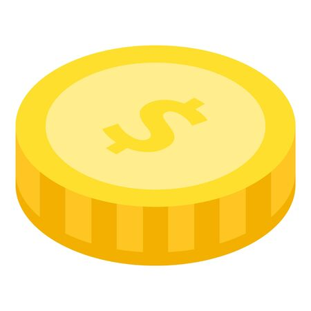 Dollar coin icon. Isometric of dollar coin vector icon for web design isolated on white background Иллюстрация