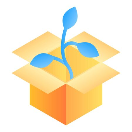 Plant in box icon, isometric style Illustration