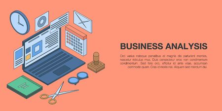 Business analysis concept banner. Isometric illustration of business analysis vector concept banner for web design