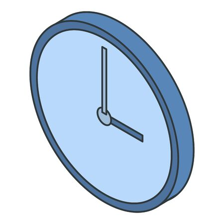 Modern clean wall clock icon, isometric style
