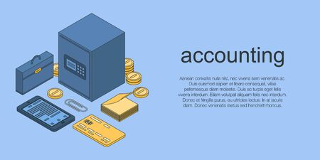 Accounting concept banner. Isometric illustration of accounting vector concept banner for web design