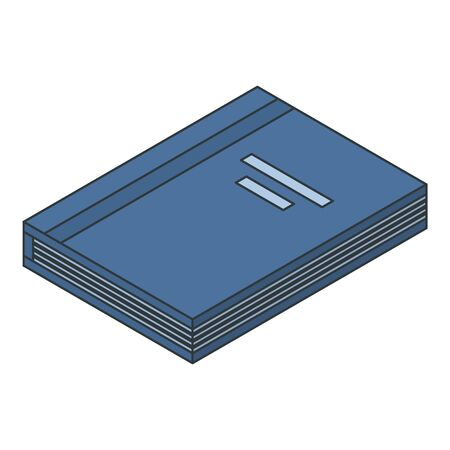 Blue book icon. Isometric of blue book vector icon for web design isolated on white background Illustration