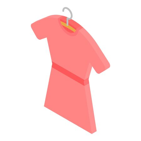 Red dress on hanger icon. Isometric of red dress on hanger vector icon for web design isolated on white background