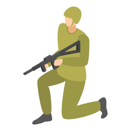 Infantry soldier icon. Isometric of infantry soldier vector icon for web design isolated on white background Иллюстрация