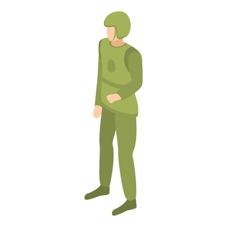 Army airforce man icon, isometric style