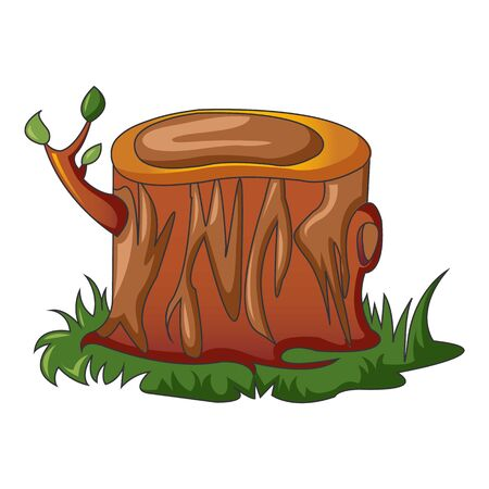 Tree stump with new branch icon. Cartoon of tree stump with new branch vector icon for web design isolated on white background