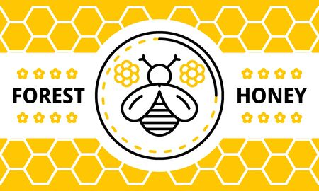 Forest honey banner. Outline illustration of forest honey vector banner for web design