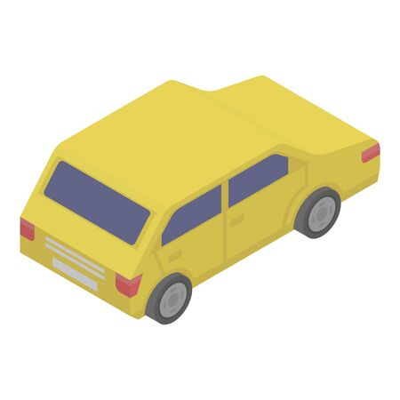 Yellow car icon. Isometric of yellow car vector icon for web design isolated on white background
