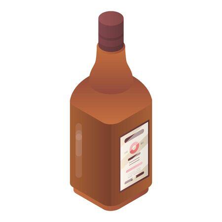Beer bottle icon, isometric style