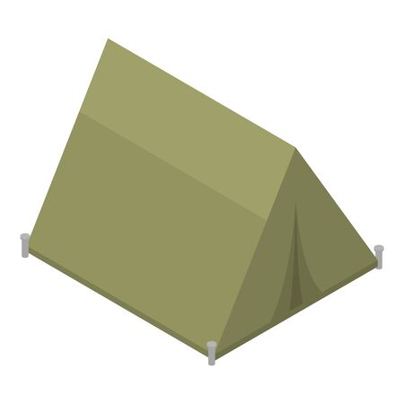 Military green tent icon, isometric style