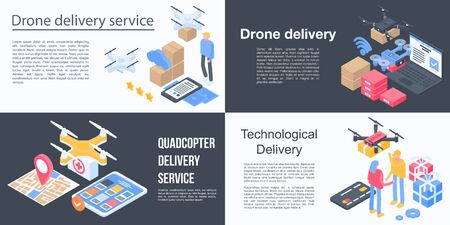 Drone delivery service banner set. Isometric set of drone delivery service vector banner for web design
