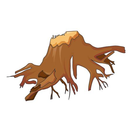 Ground tree stump icon, cartoon style
