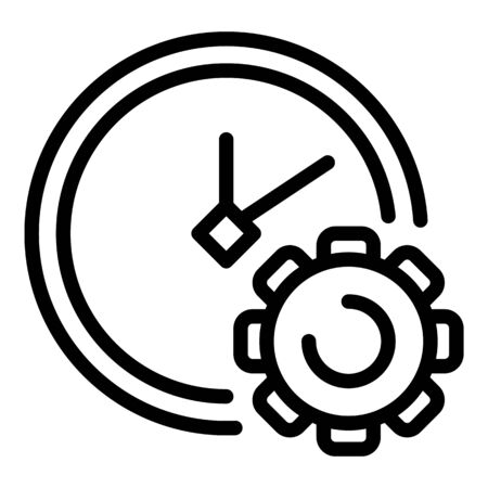 Gear clock icon, outline style