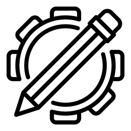 Pencil gear system icon, outline style Ilustracja
