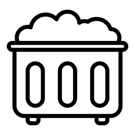 Waste basket icon. Outline waste basket vector icon for web design isolated on white background Çizim