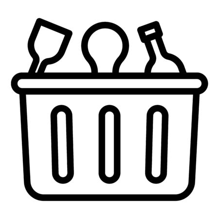 Container for waste plastic icon. Outline container for waste plastic vector icon for web design isolated on white background
