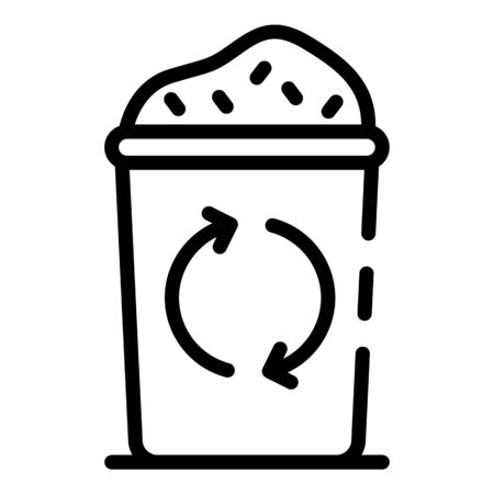 Full trash can icon. Outline full trash can vector icon for web design isolated on white background