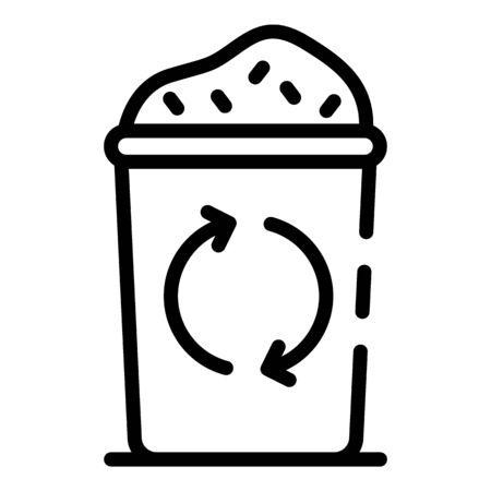 Icône de poubelle pleine. Contours complets poubelle icône vecteur pour la conception web isolé sur fond blanc