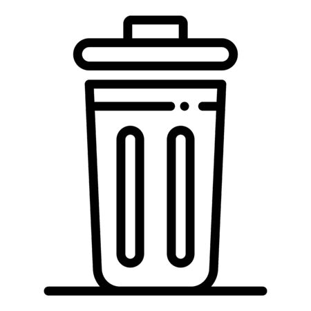 Metal trash can icon. Outline metal trash can vector icon for web design isolated on white background