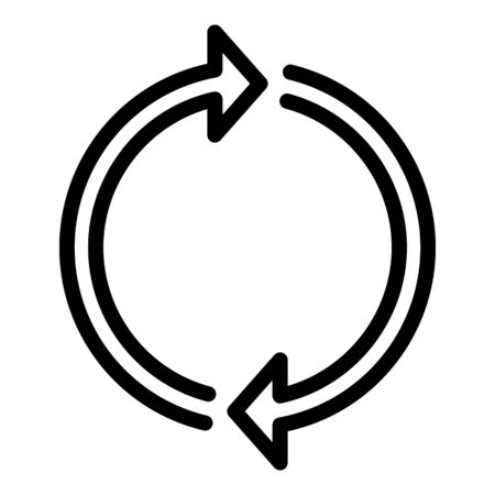Two arrows forming a circle icon, outline style