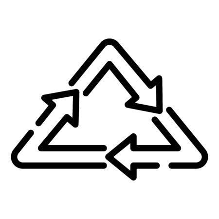 Recycling triangle icon, outline style