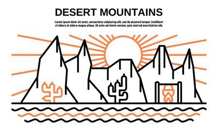 Desert mountains banner. Outline illustration of desert mountains vector banner for web design Ilustração