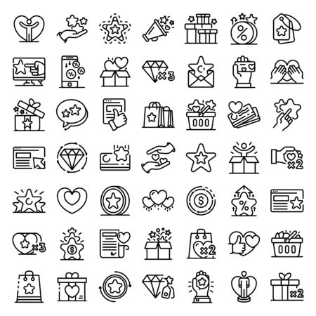Loyalty program icons set. Outline set of loyalty program vector icons for web design isolated on white background