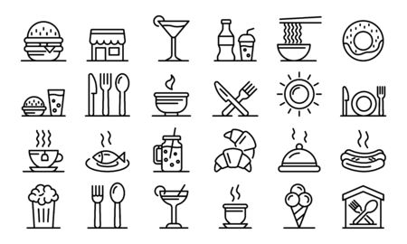 Food-Court-Icons gesetzt. Umreißen Sie einen Satz von Food Court-Vektorsymbolen für das Webdesign, die auf weißem Hintergrund isoliert sind