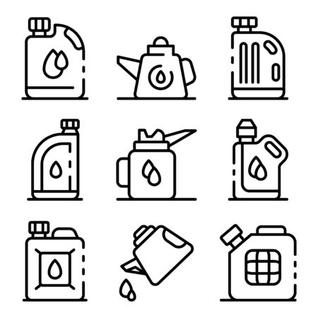 Motor oil icons set, outline style