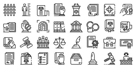 Legislation icons set, outline style