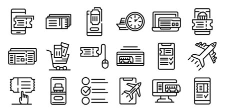 Online tickets booking icons set. Outline set of online tickets booking vector icons for web design isolated on white background