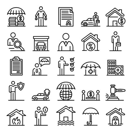 Insurance agent icons set, outline style  イラスト・ベクター素材