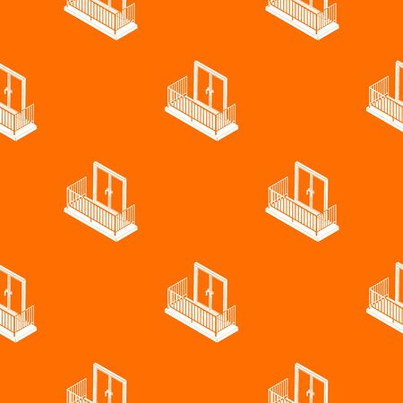 Balcony with metal fencing pattern vector orange