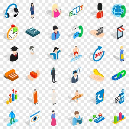Work icons set, isometric style