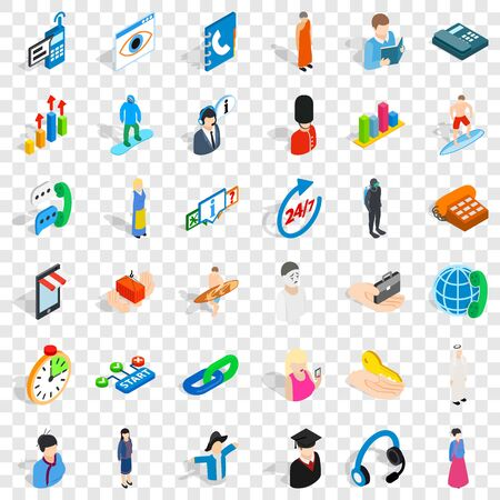 Human resource icons set, isometric style
