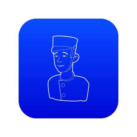Doorman icon blue vector