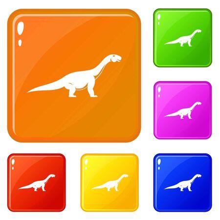 Titanosaurus dinosaur icons set vector color