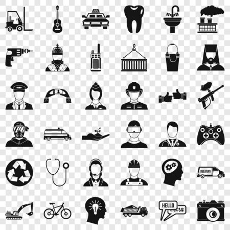 Human resource icons set, simple style